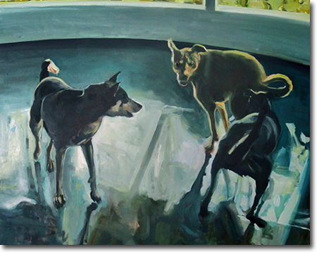Dog Fight - Large oil On Canvas