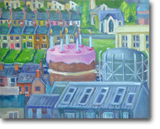 Small Oil Painting - - A Birthday Town