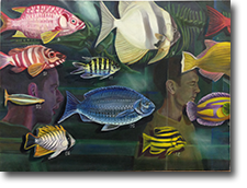 Through Fish - Large Oil On Canvas